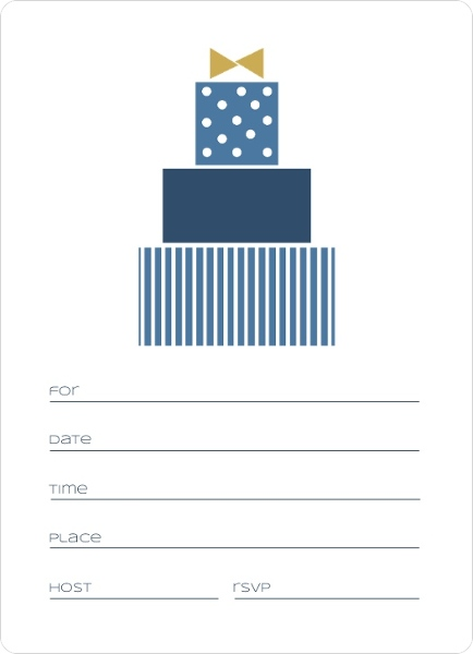 Blue Modern Birthday Fill In The Blank Invitation Blank