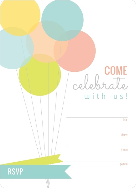Modern Balloons Fill in the Blank Birthday Invitation Blank