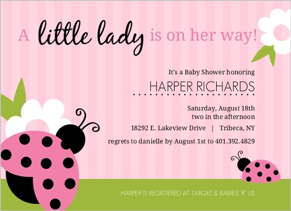 Pink And Green Ladybug Girl Baby Shower Invitations Girl Baby