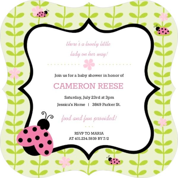 Pink And Green Flower Vines Ladybug Baby Shower Invitation Girl