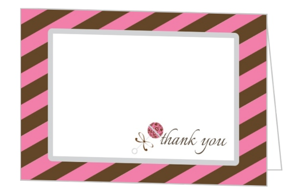 Pink And Brown Stripes Baby Shower Thank You Card Baby Shower - make your own thank you cards