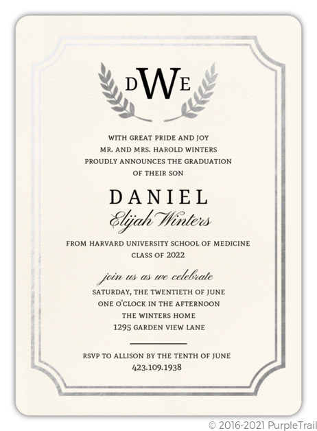 Formal Double Frame Silver Foil Medical School Graduation Invitation