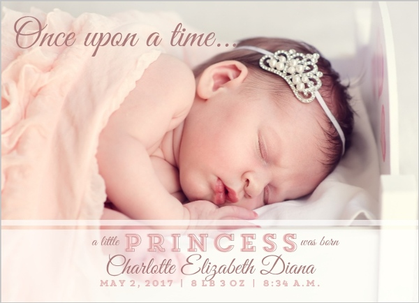 Little Princess Birth Announcement Baby Girl Announcements - Baby Girl Birth Announcements