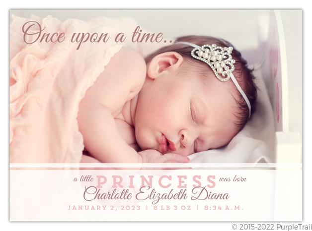 Little Princess Birth Announcement Baby Girl Announcements