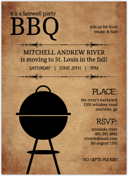 Invitation Card Amazon Backyard Bbq Farewell Party Invite | Going Away Party