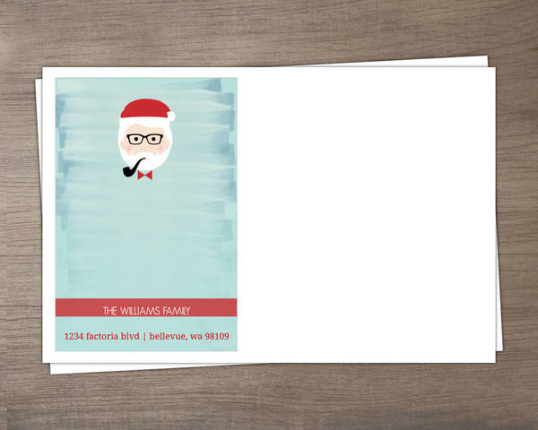 Blue Water Color Santa Envelope Custom Envelopes