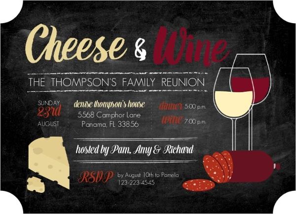 Cheese Wine Family Reunion Invitation Reunion Invitations - invitations for family reunion
