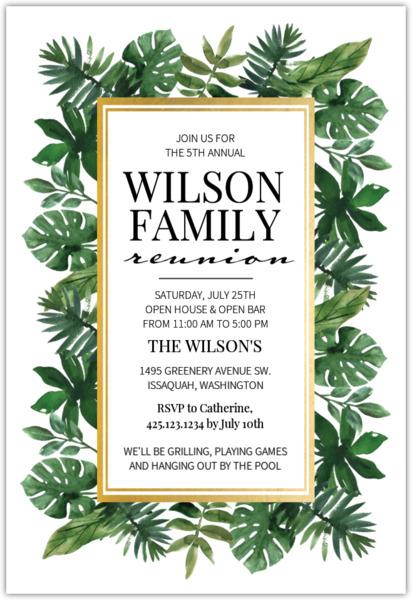 Watercolor Leaves Family Reunion Invitation Family Reunion Invitations - invitations for family reunion
