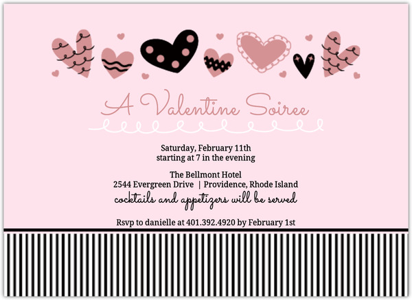 Playful Hearts And Stripes Valentine S Day Party Invitation - 's day party invitation