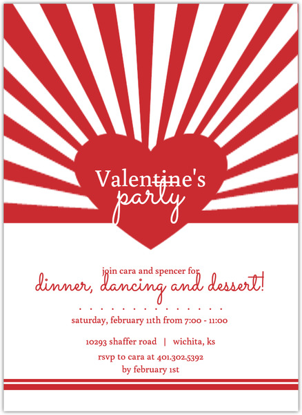 Red Bursting Heart Valentine S Day Party Invitation Valentines Day - 's day party invitation