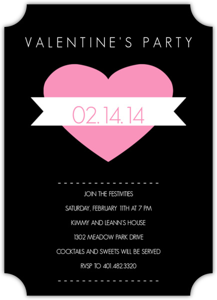 Modern Heart And Banner Valentine S Day Party Invitations - 's day party invitation