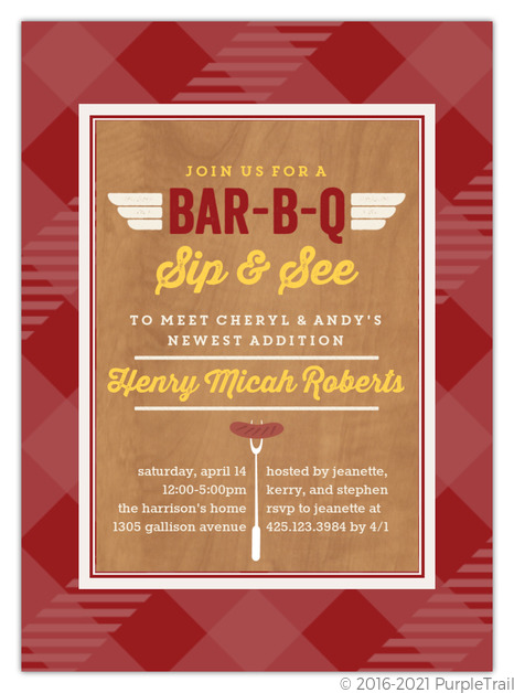 Barbecue Sip and See Invitation Couples Baby Shower Invitations