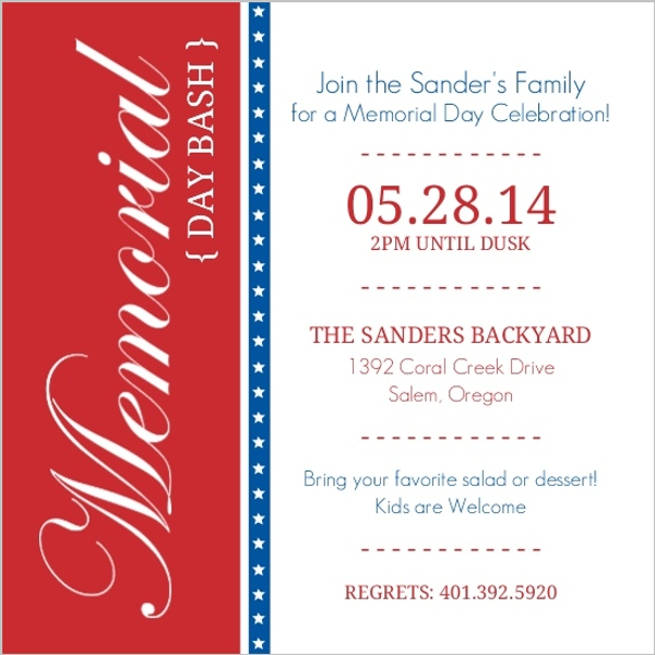 Red And Blue Bar Stars Memorial Day Invitation Memorial Day