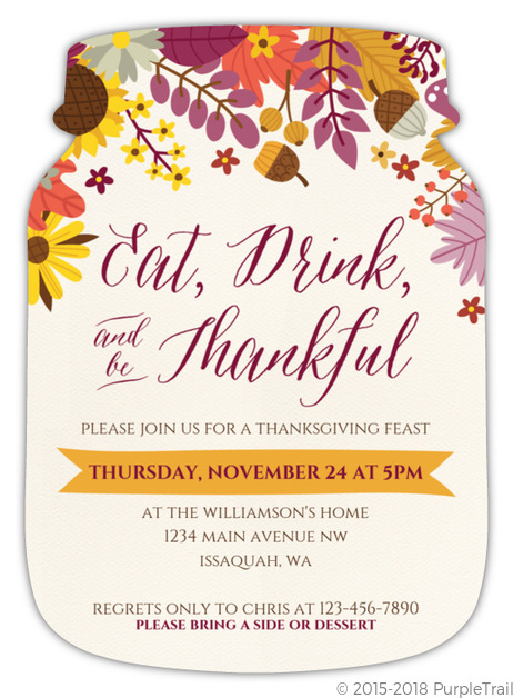 Colorful Autumn Floral Thanksgiving Invitation Thanksgiving