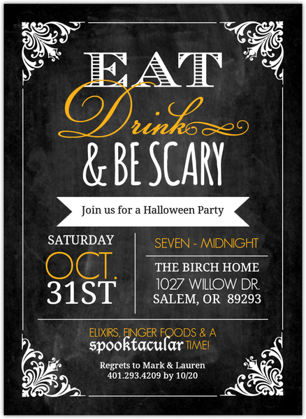 Chalkboard Vintage Frame Halloween Party Invitation Halloween - invitation for halloween party