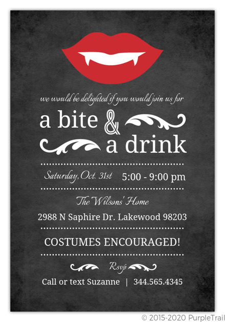 Vampire Chalkboard Halloween Party Invitation Halloween Invitations