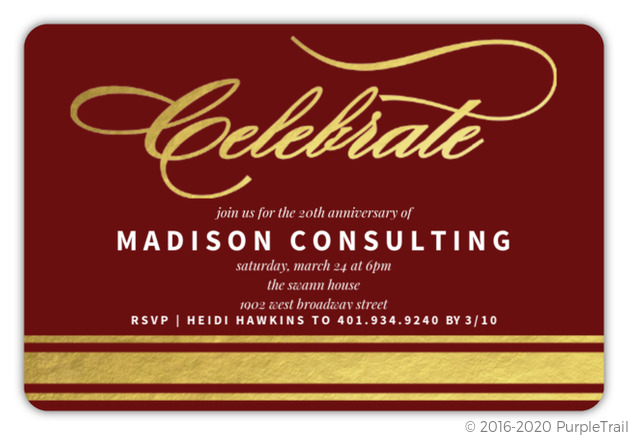 Gold Foil Celebrate Corporate Event Invitation Business Event