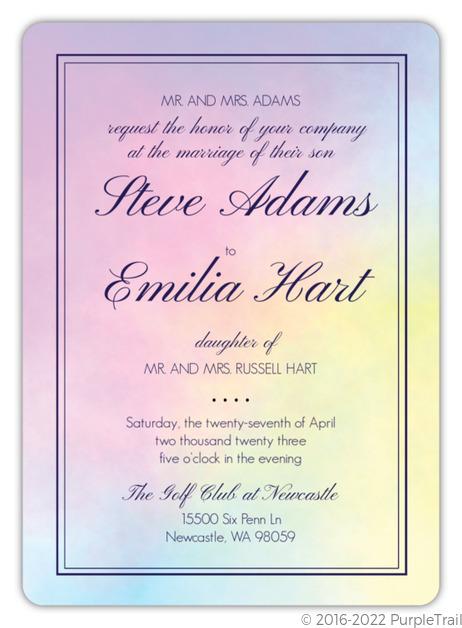 Rainbow Watercolor Wedding Invitation Wedding Invitations