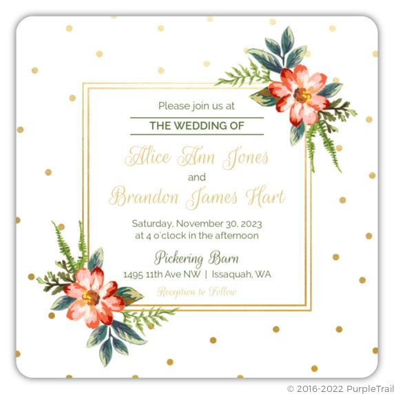 Gold Polka Dot Wedding Invitation Wedding Invitations