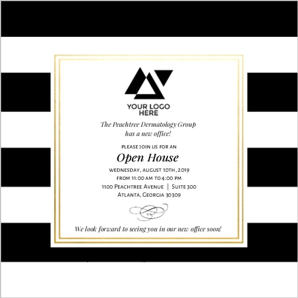 Classic Stripe Corporate Open House Invitation Business Open House