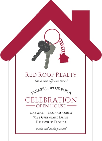 Red Roof Real Estate Open House Invitation Business Open House
