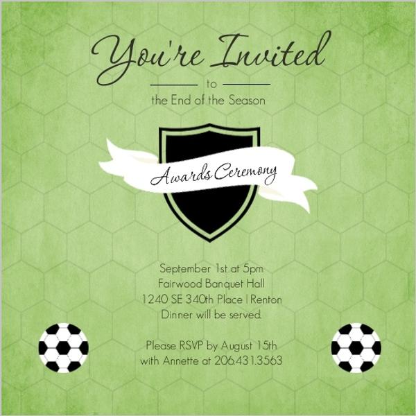 Green Shield Soccer Award Ceremony Party Invitation Soccer Invitations