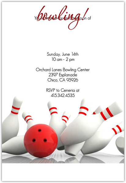Strike Bowling Invitation Sports Invitations - bowling invitation
