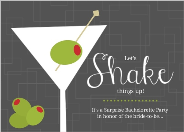 Retro Gray And Green Olive Cocktail Party Invitation Bachelorette - cocktail party invitations