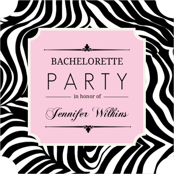 Zebra Print Pink Frame Bachelorette Party Invitation Bachelorette