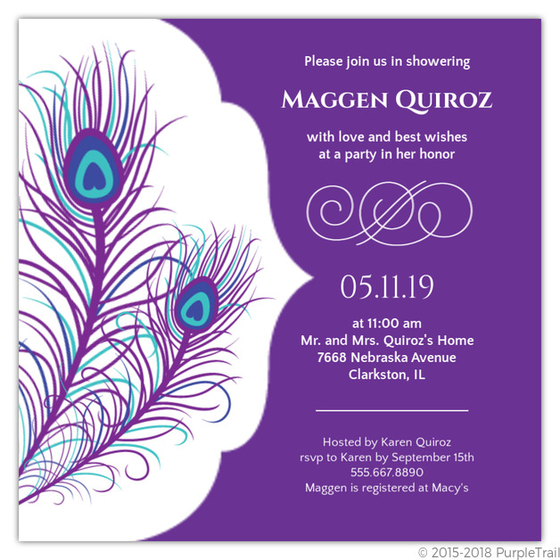 Elegant Peacock Bridal Shower Invite Bridal Shower Invitations