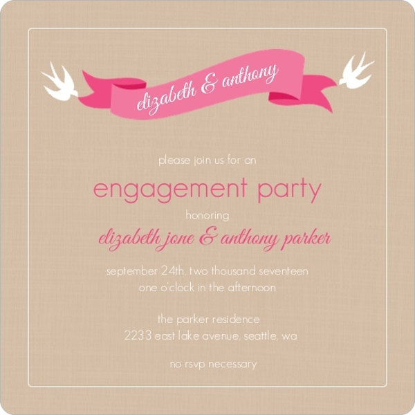Pink Banner and Swallows Engagement Party Invitation Engagement