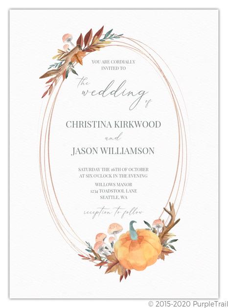 Rustic Fall Orange and Brown Wedding Invitation Rustic Wedding