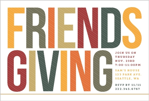 Fall Colors Friends Thanksgiving Party Invitation Thanksgiving