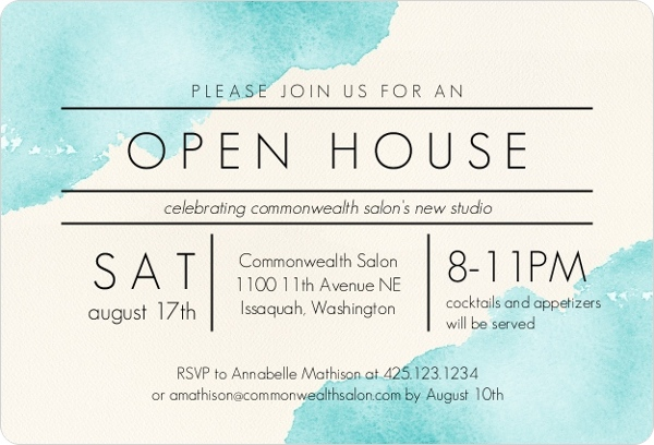 Modern Watercolor Corporate Open House Invitation Business Open - business open house invitation