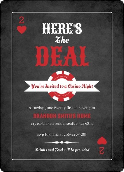 Poker Night Invitations and Casino Party Invites PurpleTrail