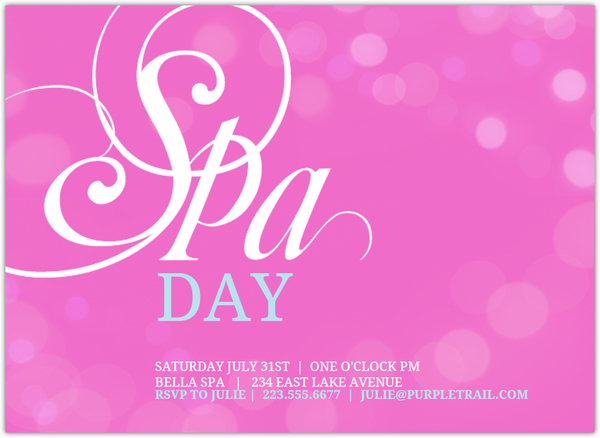 Pink Bubbles Spa Day Invitation Spa Party Invitations - spa invitation