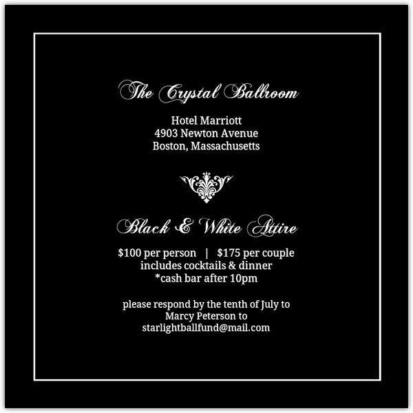 Black Elegant Monogram Charity Fundraiser Invitation Fundraising