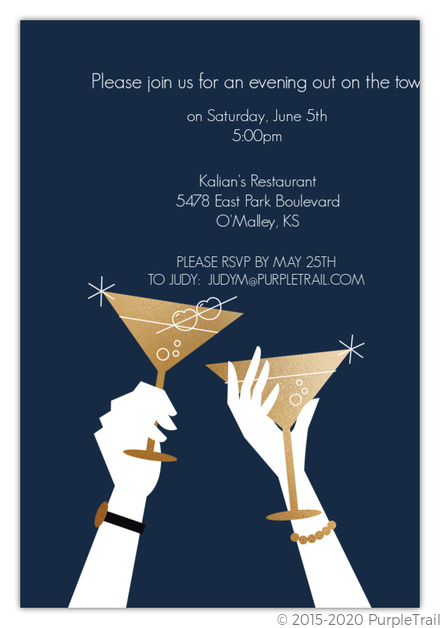 Purple Silhouette Cocktail Party Invite Cocktail Party Invitations - invitation for cocktail party