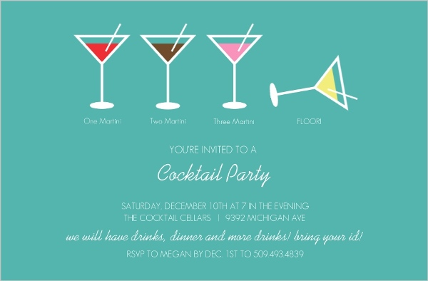 Martini Cocktail Party Invitation Cocktail Party Invitations