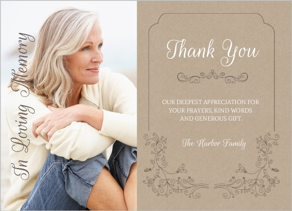 Elegant Swirls Funeral Thank You Cards Memorial Cards