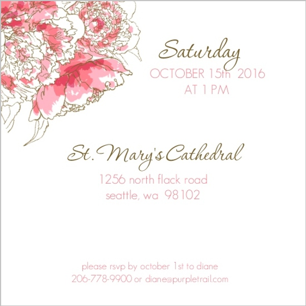 Pink Peony Funeral Service Invitation Memorial Cards - invitation for funeral