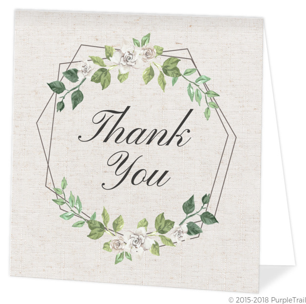 Double Hexagon Frame Memorial Thank You Card Funeral Thank You Cards