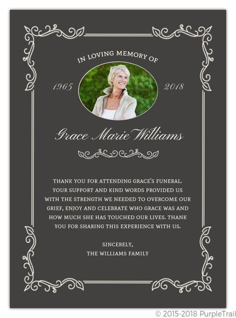 Elegant Foliage Frame Funeral Thank You Card Funeral Thank You Cards
