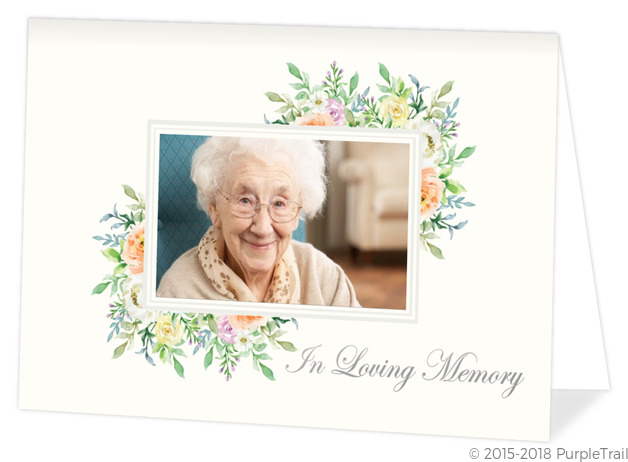 Corner Floral Frame Memorial Thank You Card Funeral Thank You Cards