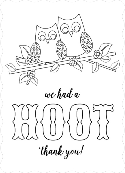 Owl Hoot Color In Thank You Card Personalized Thank You Cards