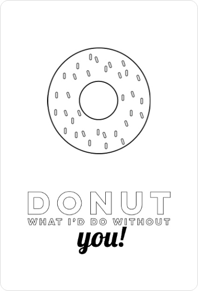Sweet Donut Color In Thank You Card Birthday Thank You Cards