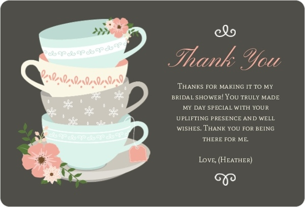 Teacup Bridal Thank You Bridal Shower Thank You Cards