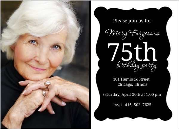 75th Birthday Invitations, Custom Birthday Invites for Everyone - invitations samples for birthday