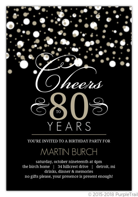 80th Birthday Invitations PurpleTrail