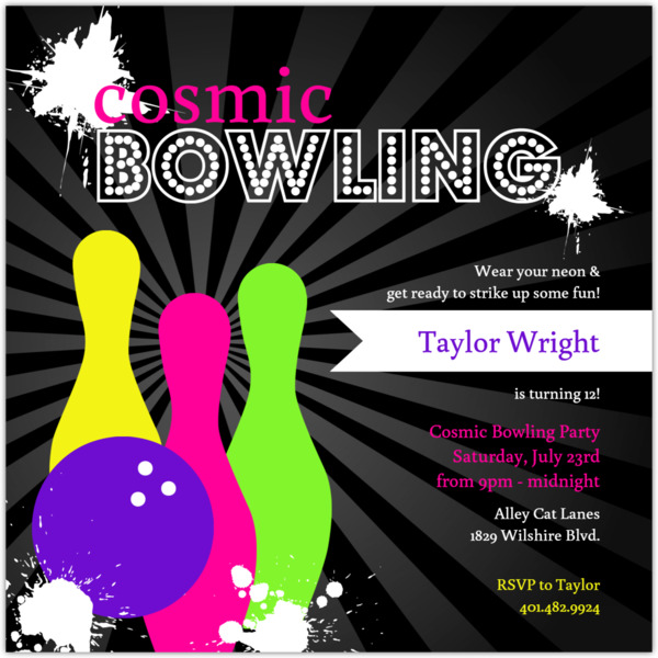 Neon Cosmic Night Out Bowling Birthday Invitation Bowling Birthday